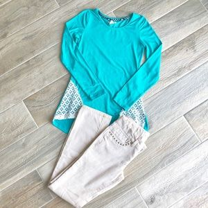 Girl's hi-low top and corduroy pants
